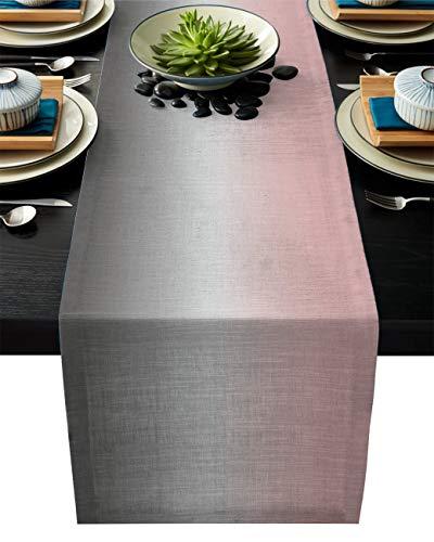 LeoHome Ombre rechteckiger Tischläufer aus Baumwollleinen, 33 x 178 cm, Farbverlauf, Rosa und Grau, Luxus-Tischläufer für Hochzeit, Party, Bankett, Abendessen-Dekoration