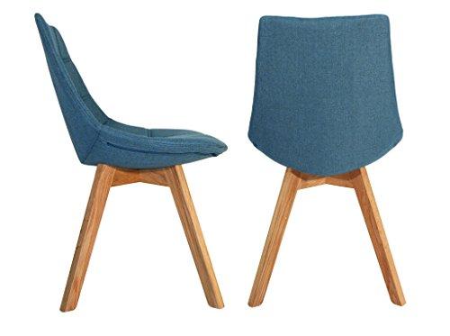 Set di 2sedie di tendenza in tessuto e base in legno di quercia massello - Beti blu