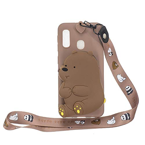 HongYong Kompatibel mit Samsung Galaxy A7 (2018) / A750 Phone Case Silikon 3D Cartoon Silikon Tiere Cover Cute Case With Strap Cord For Women Kids