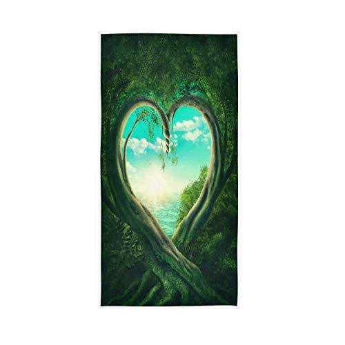 ALAZA Toalla de algodón con diseño de árbol de corazón, color verde, 76 x 38 cm
