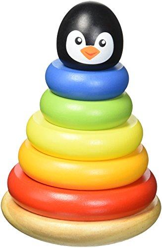 Tooky Toy TKB502 - Pinguino di legno con anelli impilabili per bambini 1 anno
