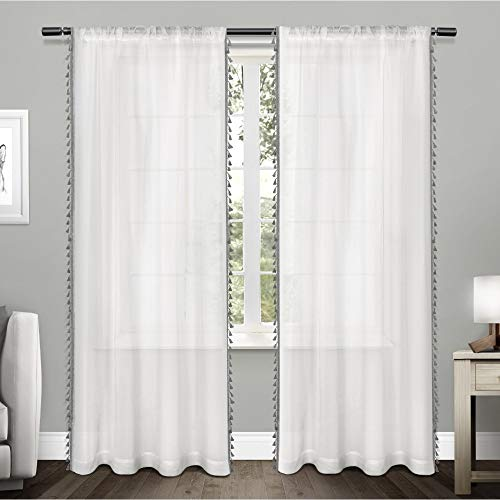 Exclusive Home Curtains Tassels Embellished Sheer Rod Pocket Curtain Panel Pair, 54x96, Black Pearl, 2 Count