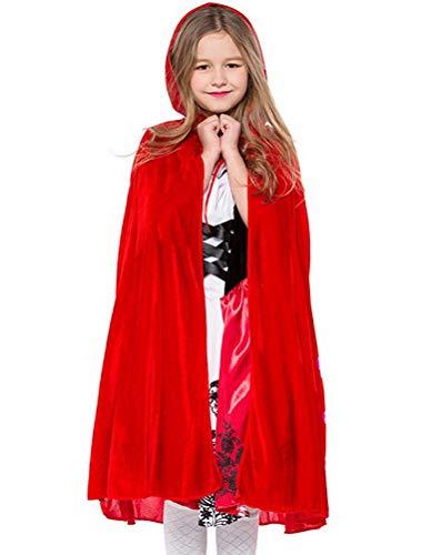 Odziezet Costume da Fiaba Abiti Cosplay Cappuccetto Rosso Halloween Vestiti di Prestazione della Fase 2 Pezzi Gonna + Mantello 0-9 Anni