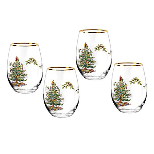 Spode Christmas Tree Stemless Wine Glasses Set of 4 19 Oz