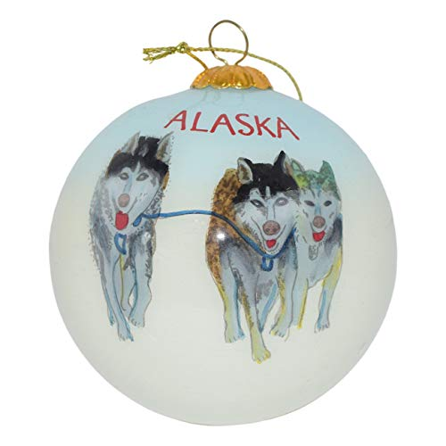 Art Studio Company Hand Painted Glass Christmas Ornament -Three Husky Sled Dogs Alaska