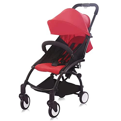HYAN Cochecito Ajustable de la Altura de la Carro de los niños portátil con la colchón del Paraguas del Bolsillo Ultralight Mini Cochecito de los niños Plegables (Color : Red)