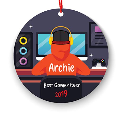 ACP Gepersonaliseerde Video Game Player Jongen spelen Video Game Kerstmis Ornament 2019 2020 Gamer FreeGiftBox