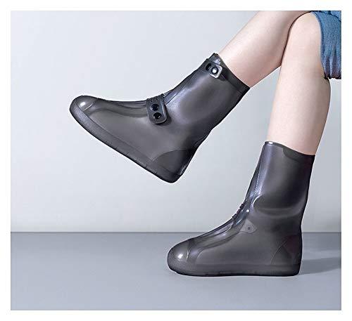 Hoge Top Dames Regenlaars Herbruikbare Wasbare Gewatteerde Antislip Slijtvaste Regendichte Waterdichte Shoe Covers Dik 320 (Color : Brown, Size : X-large)
