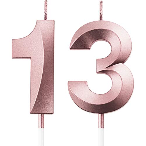 BBTO 13th Birthday Candles Cake Numeral Candles Happy Birthday Cake Topper Decoration for Birthday Party Wedding Anniversary Celebration Supplies (Rose Gold)