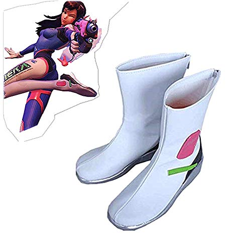 D.Va Cosplay Shoes White PU Shoes Game Cosplay Shoes (Female 39(US 8))