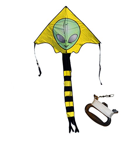 Weifang New Sky Kites Large Easy Flyer Big Alien Face Kite 7 X 4 Ft with String and Handle, Super Easy to Fly