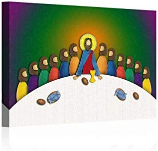 Jesus Last Supper Canvas Wall Art Abstract Christian Painting Pictures Poster Print Artwork product image