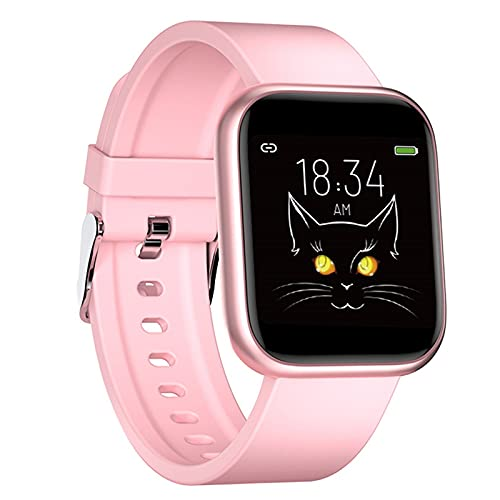 B Blesiya Reloj Inteligente X21 para Hombres y Mujeres, rastreador de Actividad física, Reloj Inteligente con Pantalla táctil de 1,3', podómetro, Monitor de - Rosa