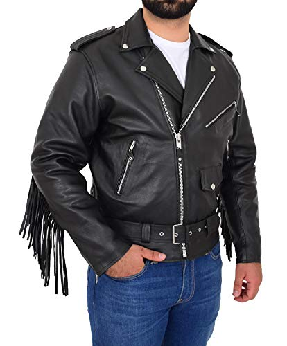 House Of Leather Hombre Cuero Motorista Estilo Brando Chaqueta con Detalle De Flecos En La Parte Trasera Wayne Negro (XL)