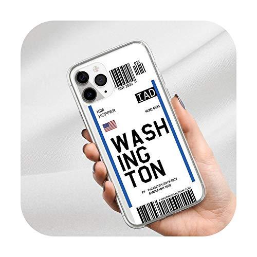 Travel Airfare Label Coque souple transparente pour iPhone 12 11 Pro XS Max X XR 7 8 6 6S Plus SE 2020 INS Code barres City Letter Code-barres