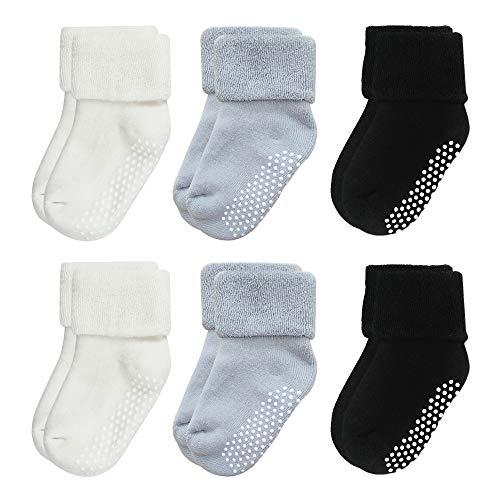 VWU Baby Mädchen Socken Anti Rutsch Dicke Manschette Baumwolle 6er Pack (1-3 Jahre, Grau schwarz weiß)