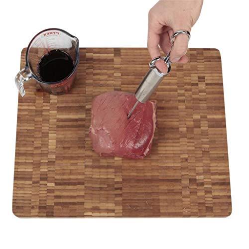 Yintiod Professionelle 60 ml BBQ Bratenspritze Edelstahl Grill Marinade Fleischgeschmack Injektor Kit Mit 3 Nadeln Küche Kochwerkzeug
