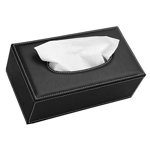 N\A Caja de pañuelos de cuero, rectangular, caja de papel de...