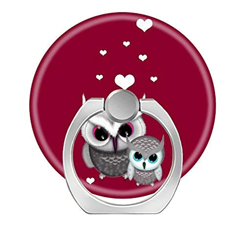 360 Degree Rotation Socket, Cell Phone Pop Grip Stand Works for All Smartphone and Tablets - Two Little Owls and Hearts On Red