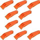 10 Piezas Silbatos de Supervivencia de Emergencia, Silbato Arbitro, Doble Tubos High Decibel Silbido para Acampar, Senderismo, Entrenamiento, Natación Silbato de Supervivencia Plástico, Naranja