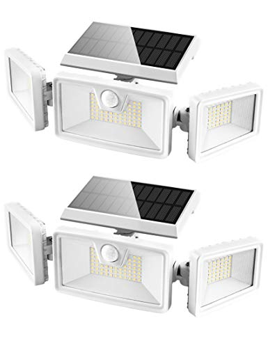 Otdair 132 LED Solar Lights Outdoor, Solar Security Motion Sensor Lights IP 65 Waterproof Flood Lights Rotatable Wall Lights for Garden Garage Pathway Patio Yard Porch 2 Pack