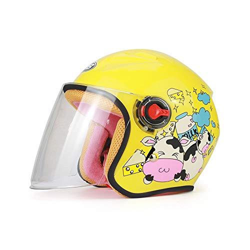 Casque de dessin animé pour casque de moto pour enfants Automne et hiver Demi-casque Casque de saison mignon Casque de voiture électrique (Color : A)