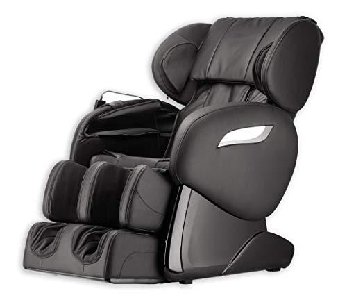 Luxus Massagesessel Shiatsu F2000 Leder schwarz mit Zero Gravity + Rollentechnik Massage + Heizung + Armmassage Sessel für Wohnzimmer günstig schwarzer bequemer Fernsehsessel Ledersessel