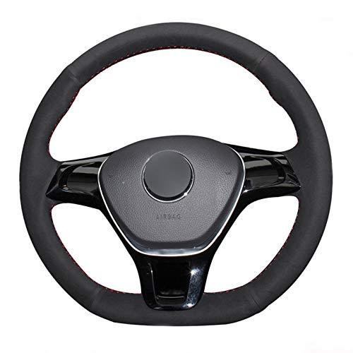 Dmwfaker für Volkswagen Golf 7 Mk7 Neuer Polo Jetta Passat B8 Tiguan Sharan Touran, schwarzes Wildleder Lederlenkrad Abdeckteile