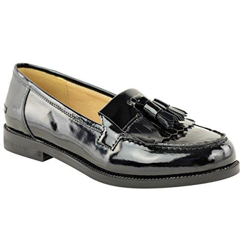 Mujer Zapatos Plano Casual Oficina Escuela Borla Zapato Oxford - Negro charol, 38