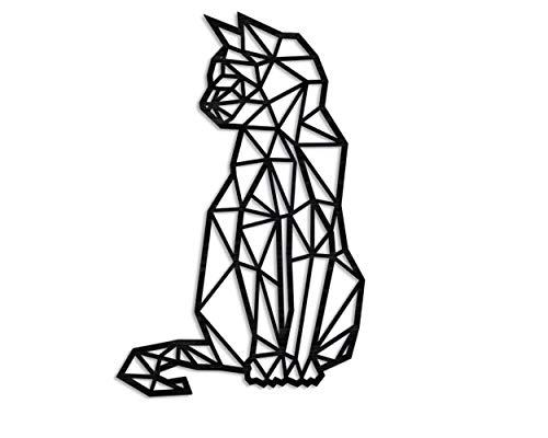 Kat 46 cm wanddecoratie houten kat wanddecoratie kat decoratie muur kunst geometrische ornamenten minimalistische…