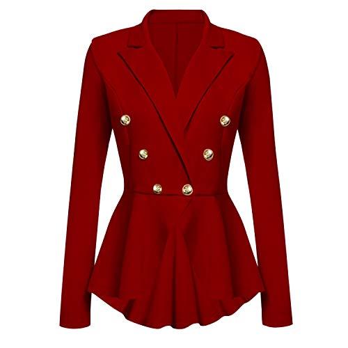 Frestepvie Damen Klassischer Taillierter Blazer mit Rockzipfel V-Ausschnitt Slim Fit für Freizeit und Arbeit Schößchen Anzugjacke Britischer Stil