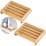 Holz Soap Box 2 Stücke Bambus Seifendose Holz Seifenhalter Seifenschale Holz Dusche Handarbeit...