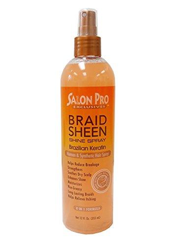 Salon Pro Braid Sheen Shine Spray 8 in 1 Formula 12 oz. / 355 ml (Brazilian Keratin)