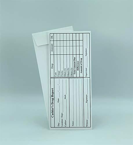 """500 Cashier Depot EZ465 Cashier's Drop Report, 4 1/8"""" x 9 1/2"""", Open End, Premium 24lb White (500 Envelopes)"""