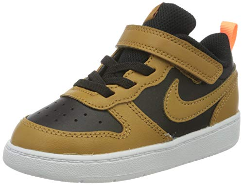 Nike Court Borough Low 2 (TDV), Scarpe da Ginnastica Unisex-Bambini, Black/Wheat/Orange Pulse/White, 21 EU