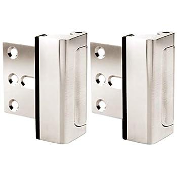 Door Lock for Home Security  2-Pack  - Easy to Install Door Latch Device Aluminum Construction Satin Nickel Door Locks for Door Security   Child Proof & Tamper Resistant Satin Nickel Door Locks