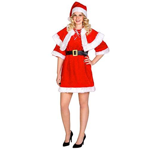 dressforfun 900078 Frauenkostüm Sexy Weihnachtsfrau | kurzes Kleid | Cape mit Bindebändern | Schicker Gürtel & Mütze (S)