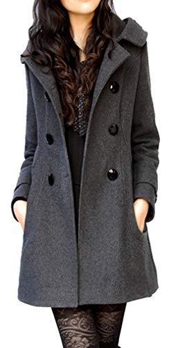 Bestfort Mantel Damen Elegant Trenchcoat Übergangsmantel Zweireihig Herbst Wollmantel Lange Ärmel mit Kapuze Warm Windbreaker