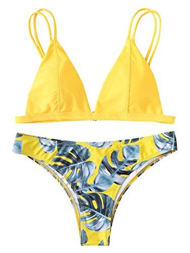 SOLY HUX Mujer Bikinis de Triángulo con Tiras Y Estampado de Palma en Amarillo +2 PCS Traje de Baño 2019 Verano