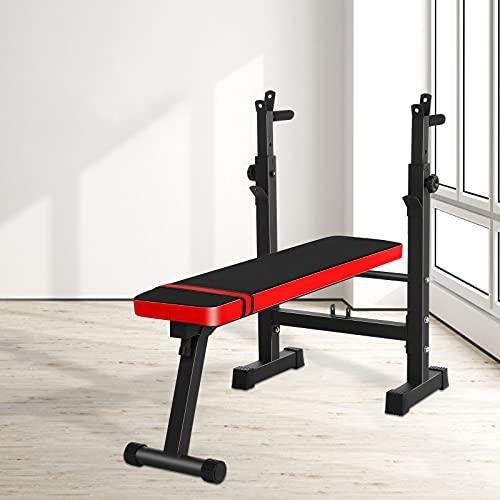 UFLIZOGH Viktbänk med dippstation, 4-i-1 justerbar hopfällbar platt tyngdlyftningsbänk fitness träningsutrustning för skivstång hem gym