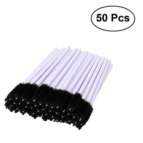 50pcs brosse à cils poignée en plastique jetables baguettes de mascara kit simple brosse à cils pour les femmes dames (noir)