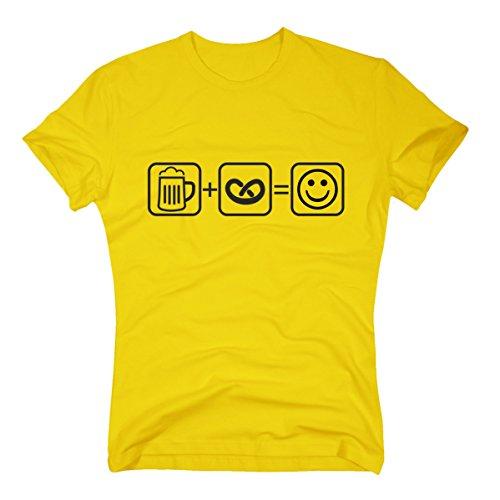 T-Shirt Bier Brezel Smiley Oktoberfest Wiesn gelb XL
