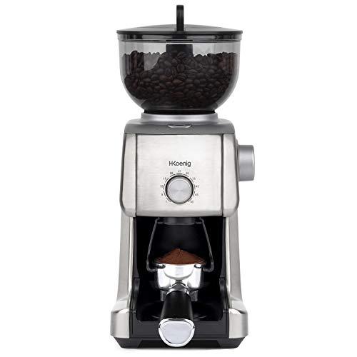 H.Koenig GRD830, Molinillo de Café Eléctrico Profesional, 16 Tamaños de Molido, Potencia 130 W, Capacidad Deposito 400 g, Molinillo para Casa, Cuerpo de Aluminio