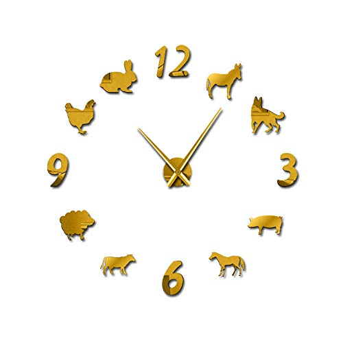 Reloj de pared Forest Farm Animal Reloj de pared Reloj de cuarzo Diseño moderno Cerdo Oveja Sin marco Acrílico gigante Pared 3D Espejo Granjero Regalo para oficina Escuela Habitación para niños