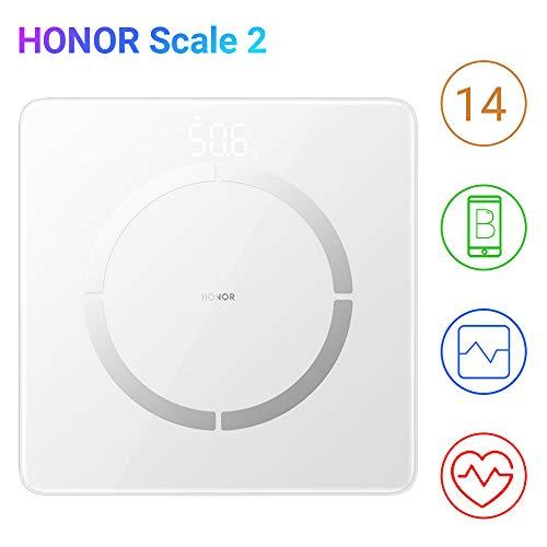 HONOR Scale 2 Báscula de Baño Báscula Grasa Corporal 14 Medidas Esenciales Báscula Inteligente Digital con Pantalla LCD para Móviles Android (Blanco)