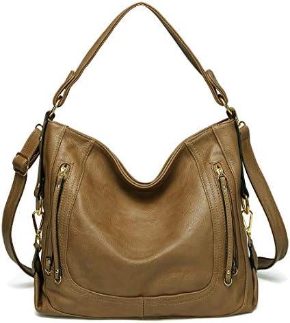Hobo Bag for Women, Kasgo Fashion PU Leather Handbag Large Shoulder Bag Tote Bag for Ladies Work Daily Use with Detachable Shoulder Strap