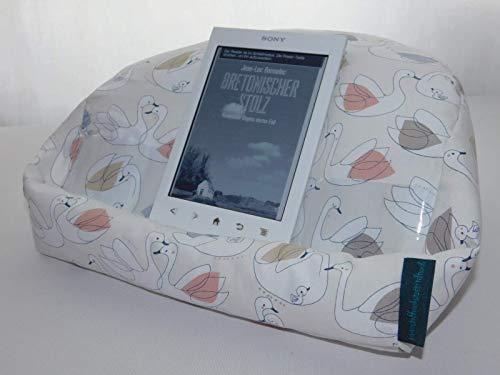 Lesekissen, Kissen fürs Tablet, Halter für I Pad, E Book Reader, Tablet, Buch, in creme mit Schwänen