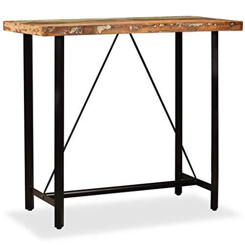 Festnight Bartisch Stehtisch Bistrotisch Tresen Bar küche IndustrieDesign Loft Massivholz und Stahl 120 x 60 x 107 cm