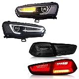 MOSTPLUS Bi-Projector Headlights W/Full Black Housing & Tail Lights Compatible for 2008-2017 Mitsubishi Lancer/EVO X
