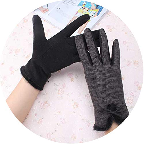 Small-shop Winter Gloves Gants d'hiver en Laine de Coton pour Femme Élégants et Chauds en Peluche avec nœud, Femme, Noir/Gris, Taille Unique